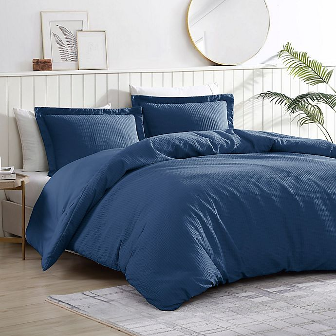 Alternate image 1 for Pierce Waffle 3-Piece Reversible Twin/Twin XL Comforter Set in Navy