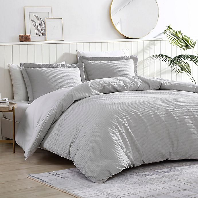 Alternate image 1 for Pierce Waffle 3-Piece Reversible Twin/Twin XL Comforter Set in Silver