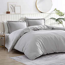 Pierce Waffle 3-Piece Reversible Twin/Twin XL Comforter Set in Silver