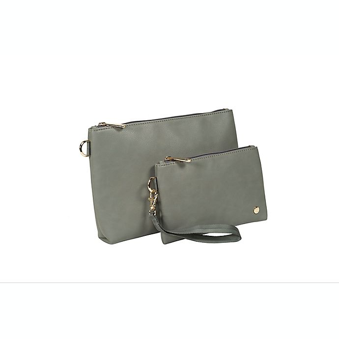 Alternate image 1 for Little Unicorn 2-Piece Faux Leather Diaper Pouch Set in Grey