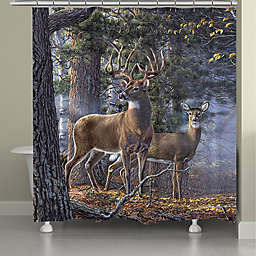 Laural Home Deer Time Shower Curtain in Forest