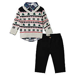 Beetle & Thread® Size 6-9M 4-Piece Fair Isle Sweater, Shirt, Bowtie and Pant Set