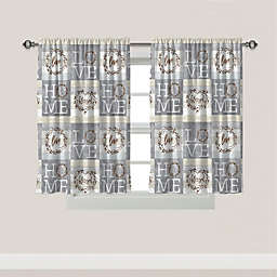 Laural Home® Loving Home 2-Pack 45-Inch Bath Window Curtain Panels in Grey/White