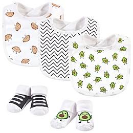 Hudson Baby® 5-Piece Avocado Taco Bib and Socks Set