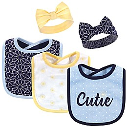 Hudson Baby® Size 0-9M 5-Piece Daisy Bib and Headband Set
