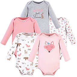 Hudson Baby® Size 3-6M 5-Pack Fox Long Sleeve Bodysuits in Pink/White/Grey