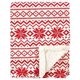 Hudson Baby® Fair Isle Plush Blanket in Red