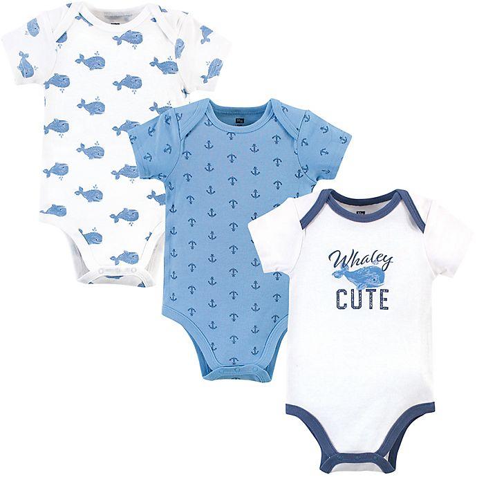 Alternate image 1 for Hudson Baby® 3-Pack Blue Whale Short Sleeve Bodysuits
