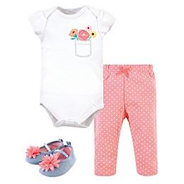 Little Treasure 3-Piece Flower Pocket Bodysuit, Pant and Shoe Set