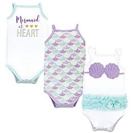 Little Treasure 3-Pack Mermaid Bodysuits in Purple/White