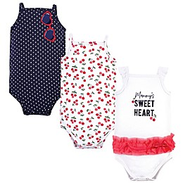Little Treasure® 3-Pack Cherry Bodysuits in White/Navy/Red