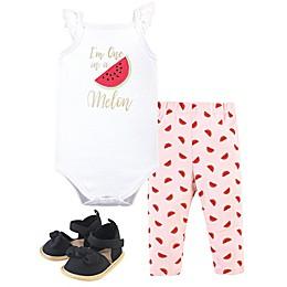 Little Treasure 3-Piece Watermelon Bodysuit, Pant and Shoe Set