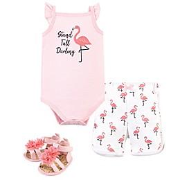 Little Treasure® 3-Piece Flamingo Layette Set in Pink/White