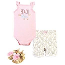 Little Treasure® 3-Piece Beach Babe Layette Set in Pink/White