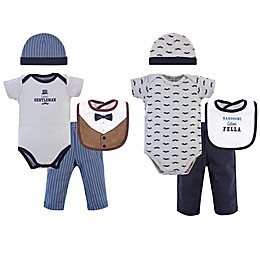 Little Treasure 0-6M 8-Piece Handsome Fella Bodysuit, Pant, Cap, and Bib Gift Set in Blue/Multi
