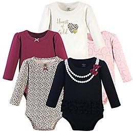 Little Treasure® 5-Pack Heart Long-Sleeve Bodysuits in Black/White