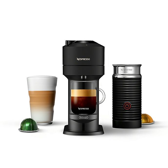 Alternate image 1 for Nespresso Vertuo Next Coffee and Espresso Maker by De'Longhi in Matte Black with Aeroccino