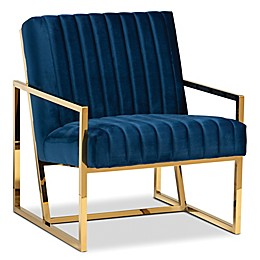 Baxton Studio™Jenner Velvet Accent Chair in Royal Blue