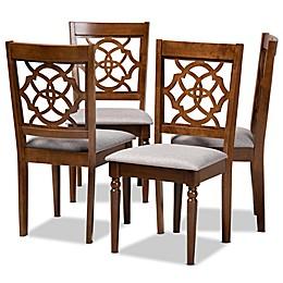 Baxton Studio™Sasha Fabric Dining Chairs in Grey/Walnut (4-Piece Set)