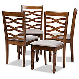 Baxton Studio™ Noe Fabric Dining Chairs in Grey/Walnut (4-Piece Set)