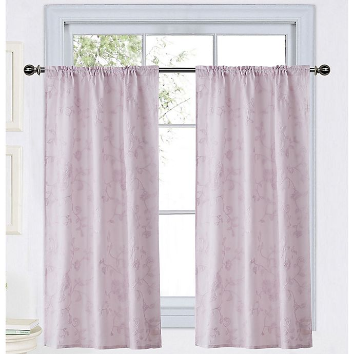 Alternate image 1 for Wamsutta® Vintage Floral Embroidery 45-Inch Rod Pocket Window Curtain Panel in Grey
