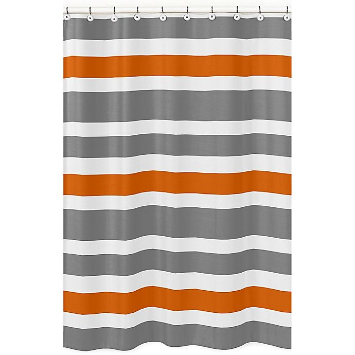 Alternate image 1 for Sweet Jojo Designs Grey and Orange Stripe Shower Curtain