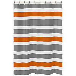 Sweet Jojo Designs Grey and Orange Stripe Shower Curtain