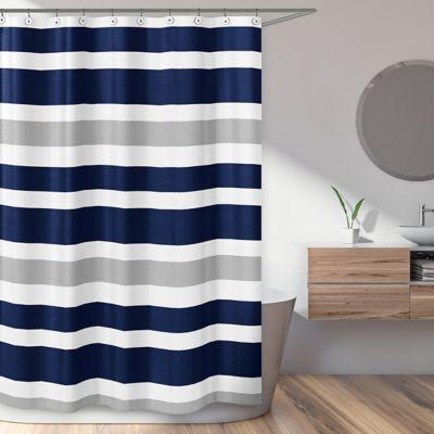 Sweet Jojo Designs Navy And Grey Stripe, Boy Bathroom Shower Curtains