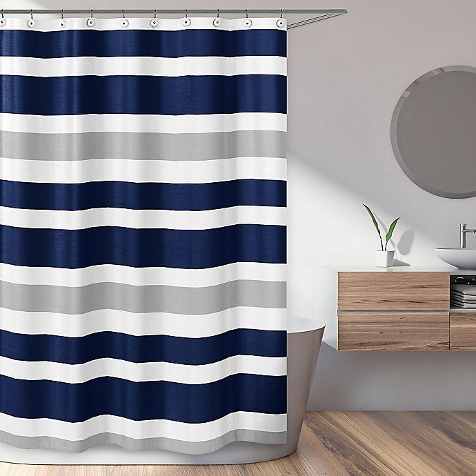 Alternate image 1 for Sweet Jojo Designs Navy and Grey Stripe Shower Curtain