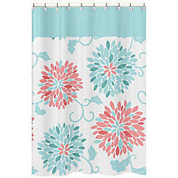Sweet Jojo Designs Emma Shower Curtain in White/Turquoise