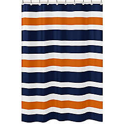 Sweet Jojo Designs Navy and Orange Stripe Shower Curtain