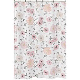 Sweet Jojo Designs Watercolor Floral 72-Inch x 72-inch Shower Curtain in Pink/Grey