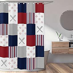 Sweet Jojo Designs® Baseball Patch Multicolor Shower Curtain