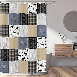 Sweet Jojo Designs Rustic Patch Shower Curtain in Blue/Tan
