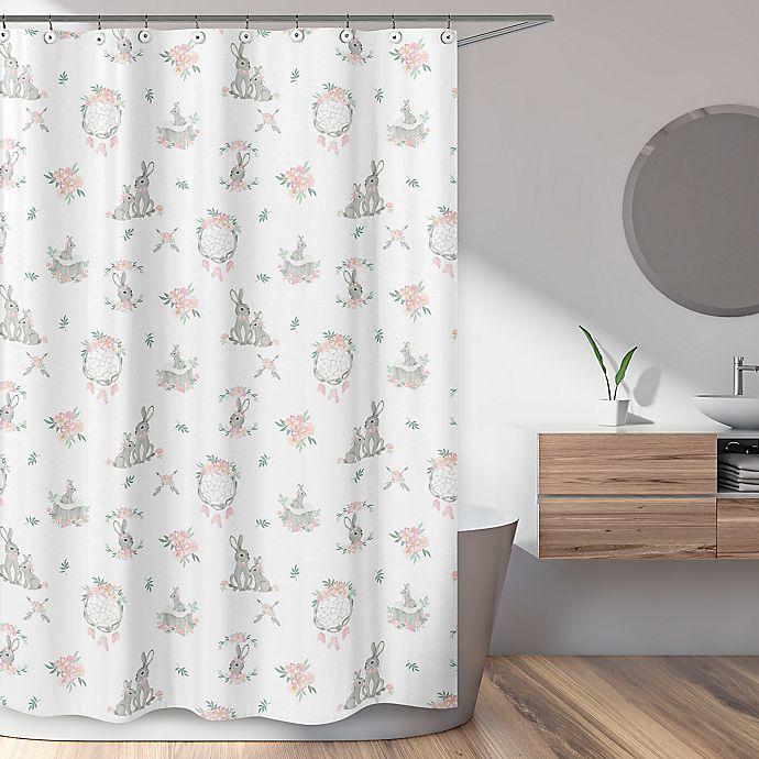 Alternate image 1 for Sweet Jojo Designs Bunny Floral Shower Curtain in Blush/Multi