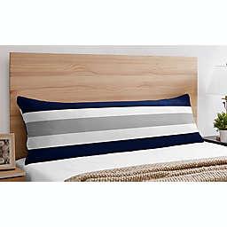 Sweet Jojo Designs Navy and Grey Stripe Body Pillow Case