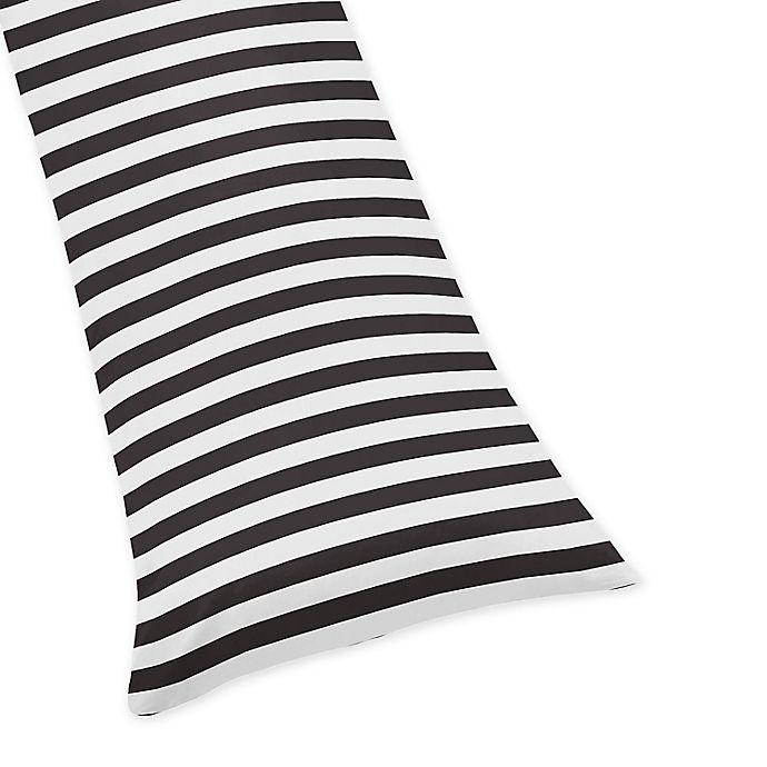 Alternate image 1 for Sweet Jojo Designs Paris Striped Body Pillowcase in Black/White