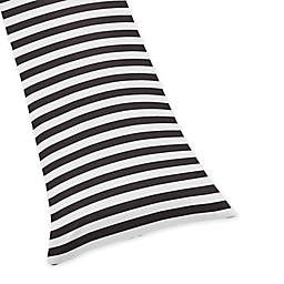 Sweet Jojo Designs Paris Striped Body Pillowcase in Black/White