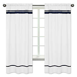 Sweet Jojo Designs Hotel Window Panels in White/Navy (Set of 2)