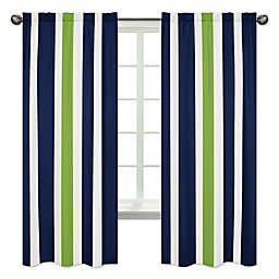 Sweet Jojo Designs Navy and Lime Stripe Window Panel Set