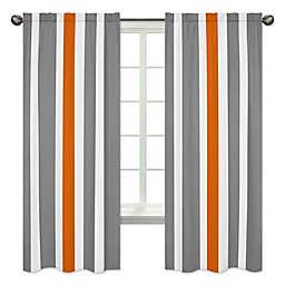 Sweet Jojo Designs Grey and Orange Stripe Window Panel Pair