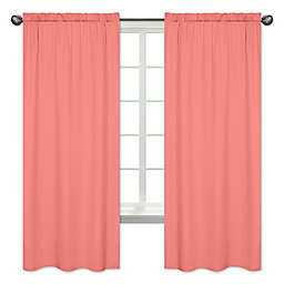 Sweet Jojo Designs Mod Diamond Window Curtain Panels in Solid Coral (Set of 2)
