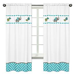 Sweet Jojo Designs Mod Elephant Window Panel Pair in Turquoise/White
