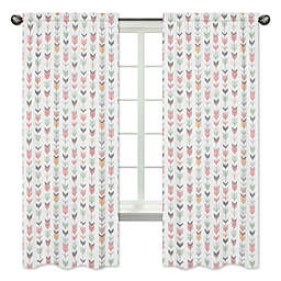 Sweet Jojo Designs Mod Arrow Print 84-Inch Window Panels in Coral/Mint (Set of 2)