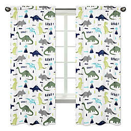 Sweet Jojo Designs® Mod Dinosaur Print 84-Inch Window Panels in Turquoise/Navy (Set of 2)