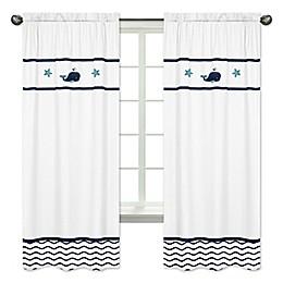 Sweet Jojo Designs® Whale 84-Inch Window Panels in White/Blue (Set of 2)