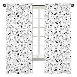 Sweet Jojo Designs® Fox Print 84-Inch Window Panels in Black/White (Set of 2)