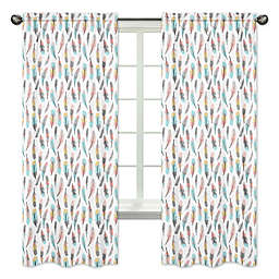 Sweet Jojo Designs® Feather 84-Inch Window Panels in Turquoise/Coral (Set of 2)