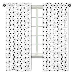 Sweet Jojo Designs Bear Mountain Triangle Tree Print 84-Inch Window Panels in Black/White (Set of 2)
