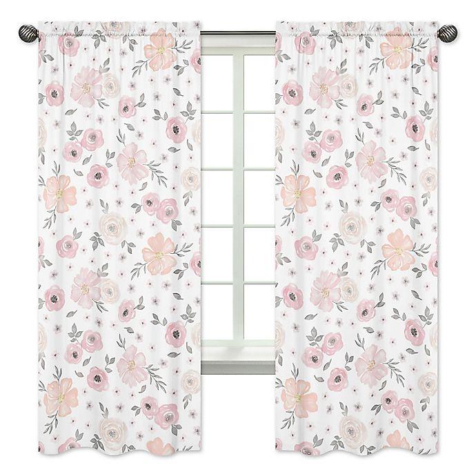 Alternate image 1 for Sweet Jojo Designs Watercolor Floral 84-Inch Window Panels in Pink/Grey (Set of 2)